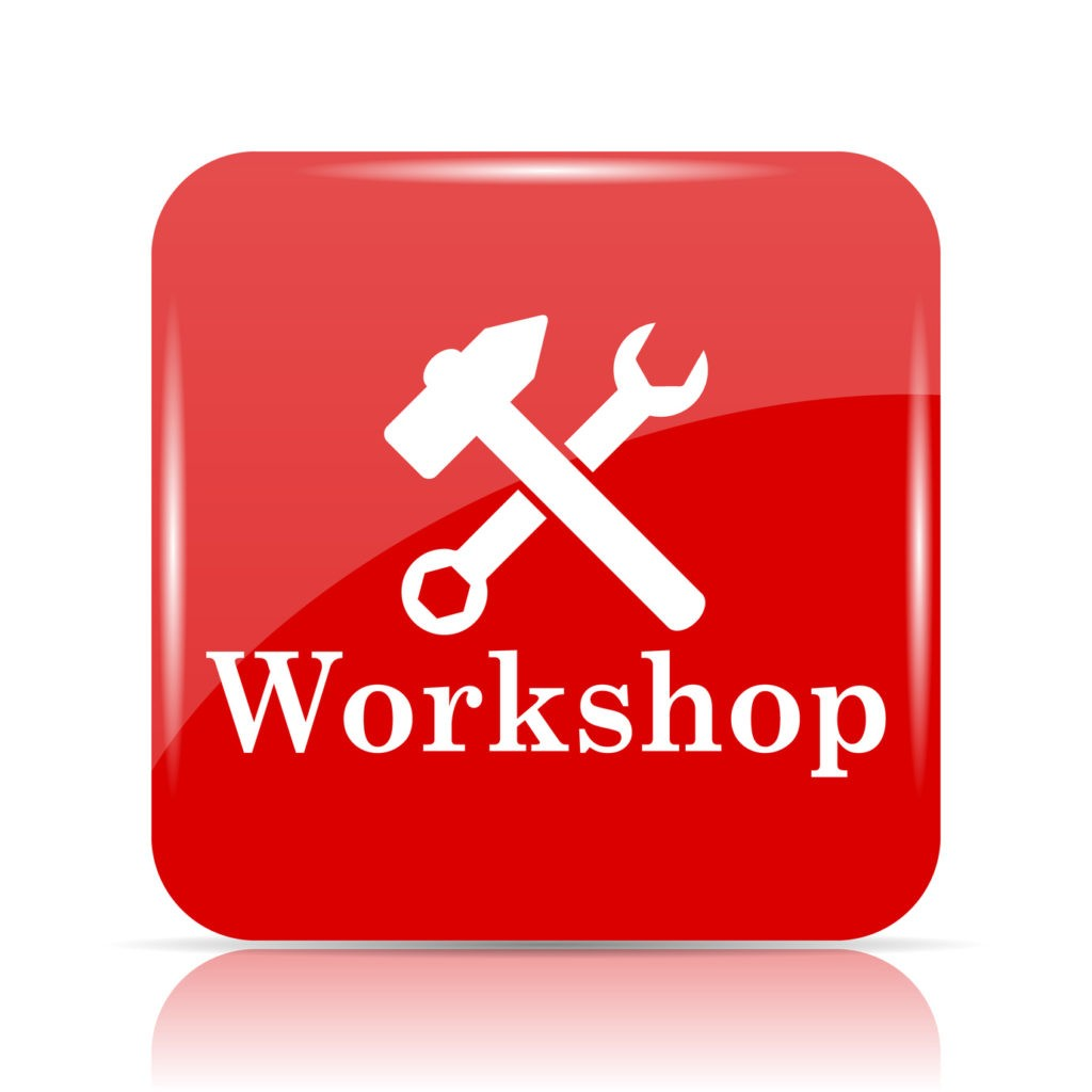 Workshop icon. Workshop website button on white background.